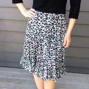 NICOLE MILLER leopard print chiffon flare skirt 6